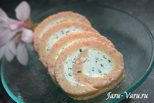 рулет из лосося с творожным сыром