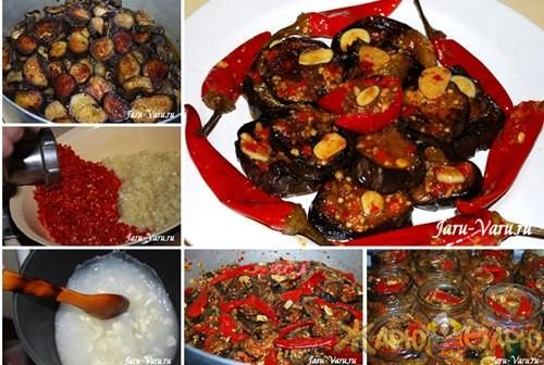 Острая закуска из баклажанов с красным перцем рецепт
