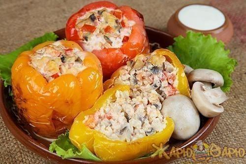 рецепт фаршированный перец с рисом и грибами