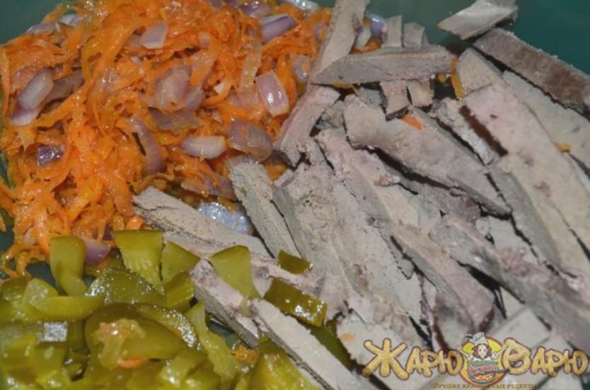 Салат с отварной печенью рецепт с фото